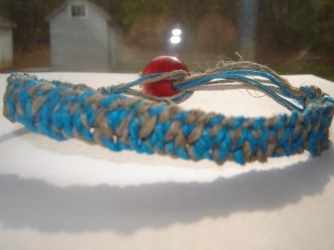Hemp Bracelet - turquoise/natural hemp bracelet